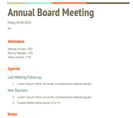 The following are model forms for waiver of notice and minutes of the first meeting of the board of directors of a newly incorporated nonprofit. 13 Meeting Minutes Templates To Help You Ace Your Nonprofit Board Meeting