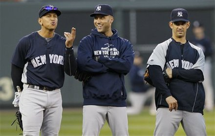 New York Yankees' Alex Rodriguez, Left, Derek Jeter And Jorge Posada, Right, Have Some Fun