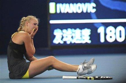 Caroline Wozniacki Of Denmark Reacts