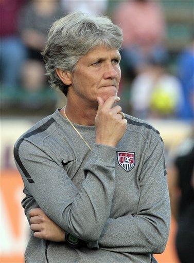 FILE - In this May 18, 2011 file photo, United States coach Pia Sundhage watches her team prior to a friendly soccer match against Japan in Cary, N.C. The U.S. women are accustomed to being No. 1. Despite that lofty ranking and gold medals from the last two Olympics, the Americans won't be the favorite when the Women's World Cup kicks off June 26. Germany, which has won the last two world titles and will be hosting the three-week event, is the odds-on choice.