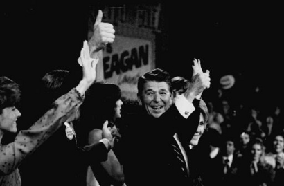 President-elect Ronald Reagan gives the thumbs-up sign in this ...