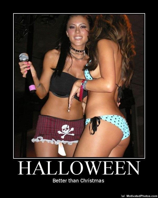 Halloween half naked girls