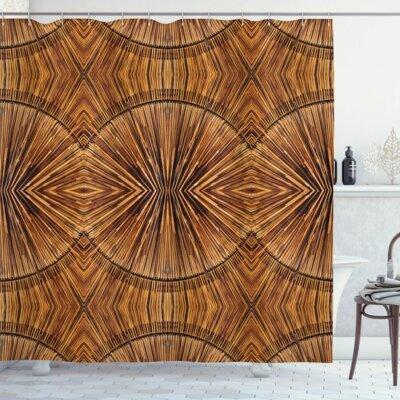 bloomsbury market bloomsbury market archway eastern bamboo pattern shower curtain hooks polyester in brown size 69 h x 105 w wayfair from