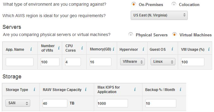AWS Total Cost of Ownership Calculator