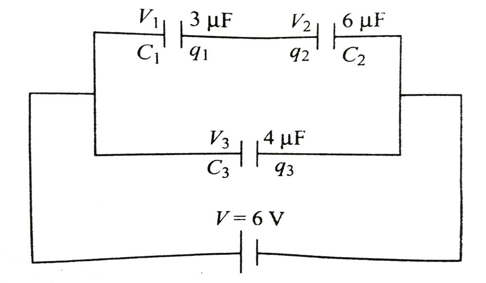 medium resolution of three capacitors of capacitances 3 f 6 f and 4 f are connected as shown across a battery of emg6v