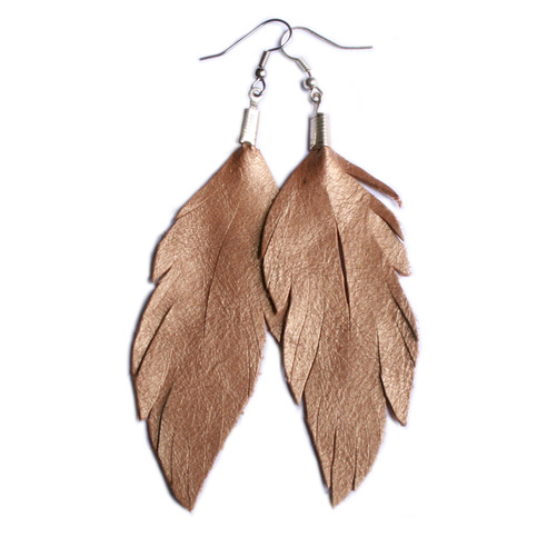 Leather Feather Earrings Metallic Rose Gold On Storenvy