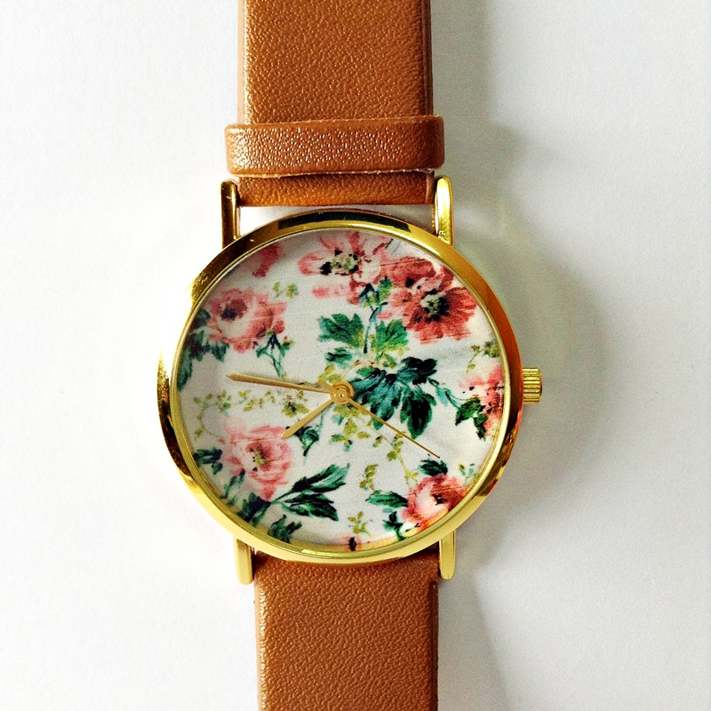 Floral Watch, Vintage Style Leather Watch, Women Watches