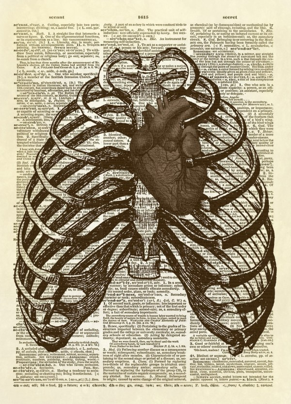 Human Thorax With Heart Dictionary Art Print . 10 Altered Artichoke Online Store