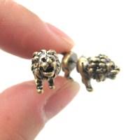 3D Fake Gauge Realistic Lion Animal Stud Earrings in ...