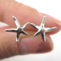 Small Starfish Star Shaped Stud Earrings in Silver ...