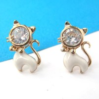 Kitty Cat Animal Small Stud Earrings in Gold with ...