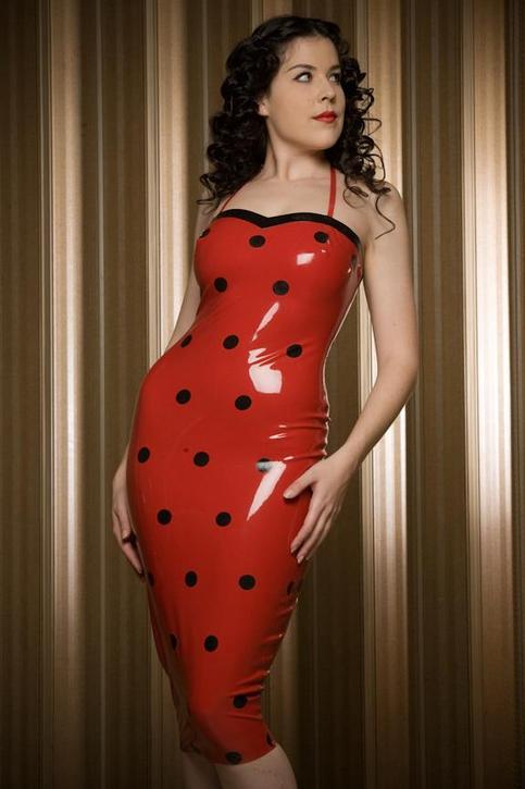 DAMEFATALE Dita Von Tesse Red Polka Dot Latex Dress
