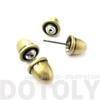 Bullet Shaped Faux Plug Fake Gauge Stud Earrings in Bronze ...