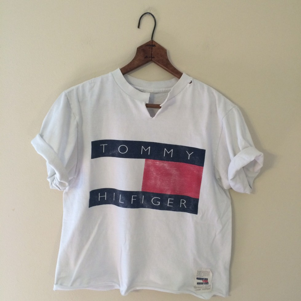 Vintage Distressed Tommy Logo Crop Top on Storenvy