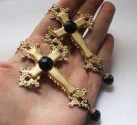 Large Black and Gold Cross Earrings on Storenvy