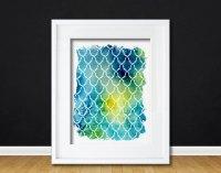 Watercolor Art Print Geometric Blue Watercolor Gift Modern ...