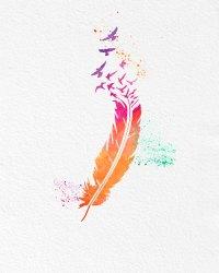 Watercolor Art Print Rainbow Feather Birds Set of 2 Modern ...