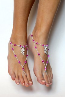 Magenta Orchid Barefoot Sandals Hot Pink