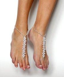 Silver Barefoot Beach Sandals