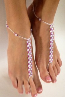 Pearl And Fusia Hot Pink Barefoot Sandals Foot Jewelry