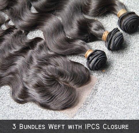 Virgin Malaysian Hair Body Wave 3 Bundles With Closure
