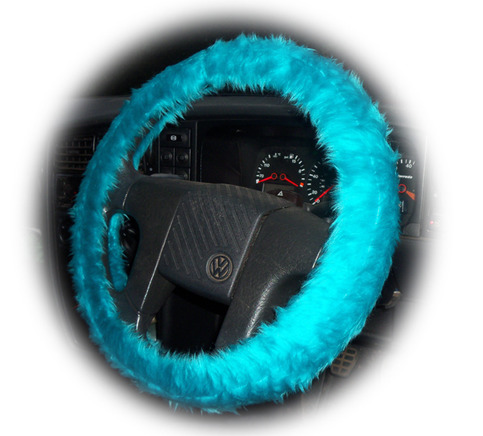 Faux fur Teal Turquoise fuzzy car steering wheel cover