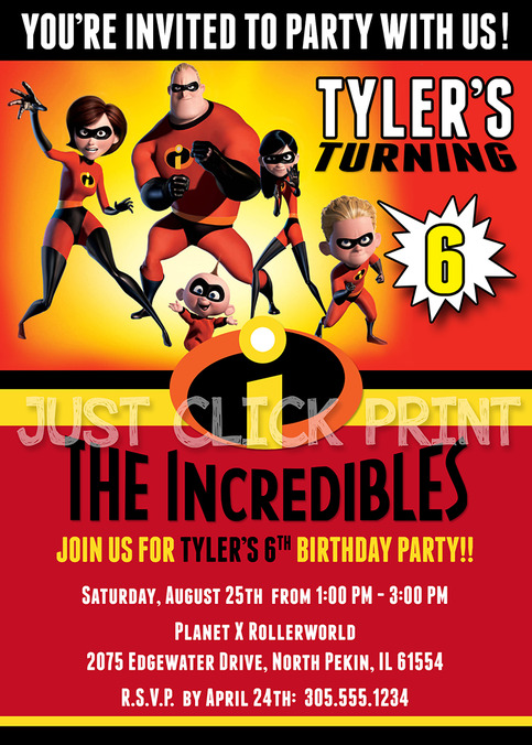 The Incredibles Family Birthday Invitation Printable