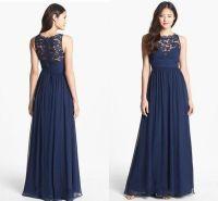 Navy lace bridesmaid dresses, chiffon bridesmaid dresses ...