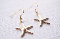 Gold Starfish Earrings  White Bear