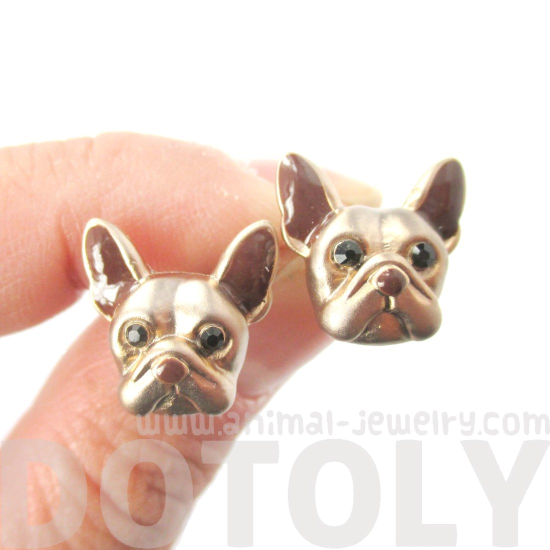 Small French Bulldog Shaped Dog Themed Enamel Stud