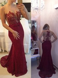 New arrival 2016 burgundy lace prom dress,mermaid long ...