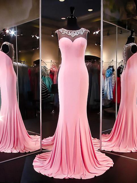 neon prom dressesPink SheathColumn Scoop Floorlength Chiffon 2016 Prom Dresses Evening