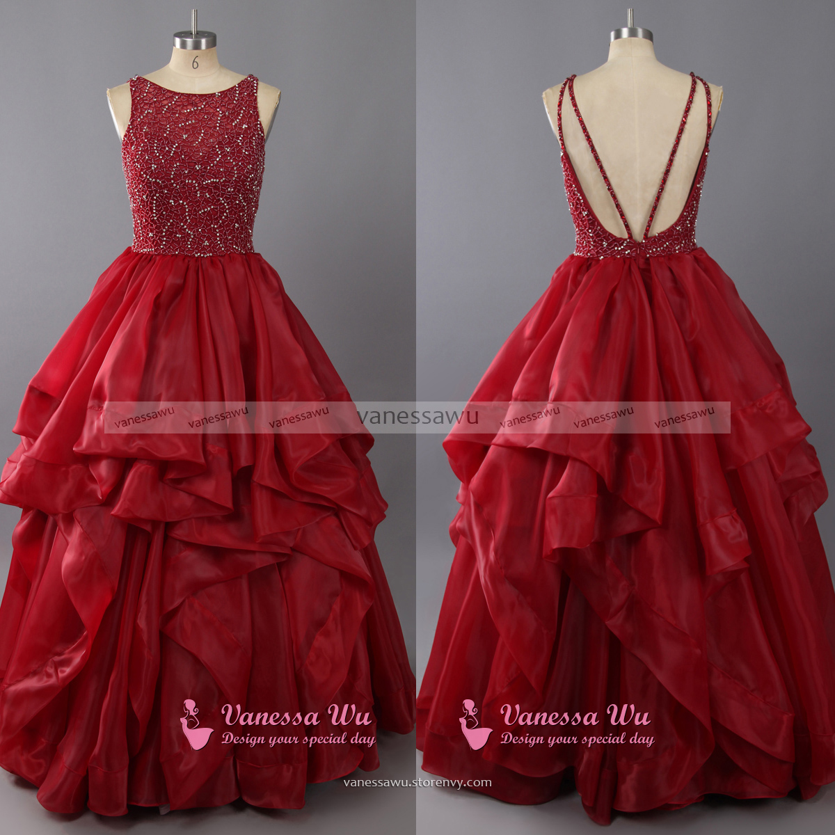 High Neck Prom Dress with Ruffles Tulle Prom Dresses with