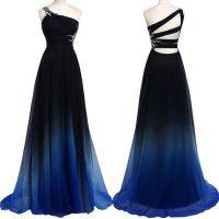 Navy Blue Gradient Long Prom Dresses One Shoulder Royal ...