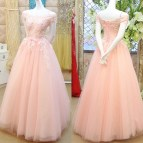 Pink Princess Prom Dresses With Lace Appliques