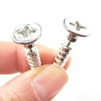 3D Fake Gauge Realistic Nuts and Bolts Screw Stud Earrings ...
