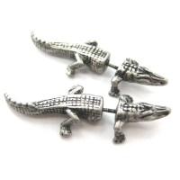 Fake Gauge Crocodile Alligator Animal Stud Earrings in ...