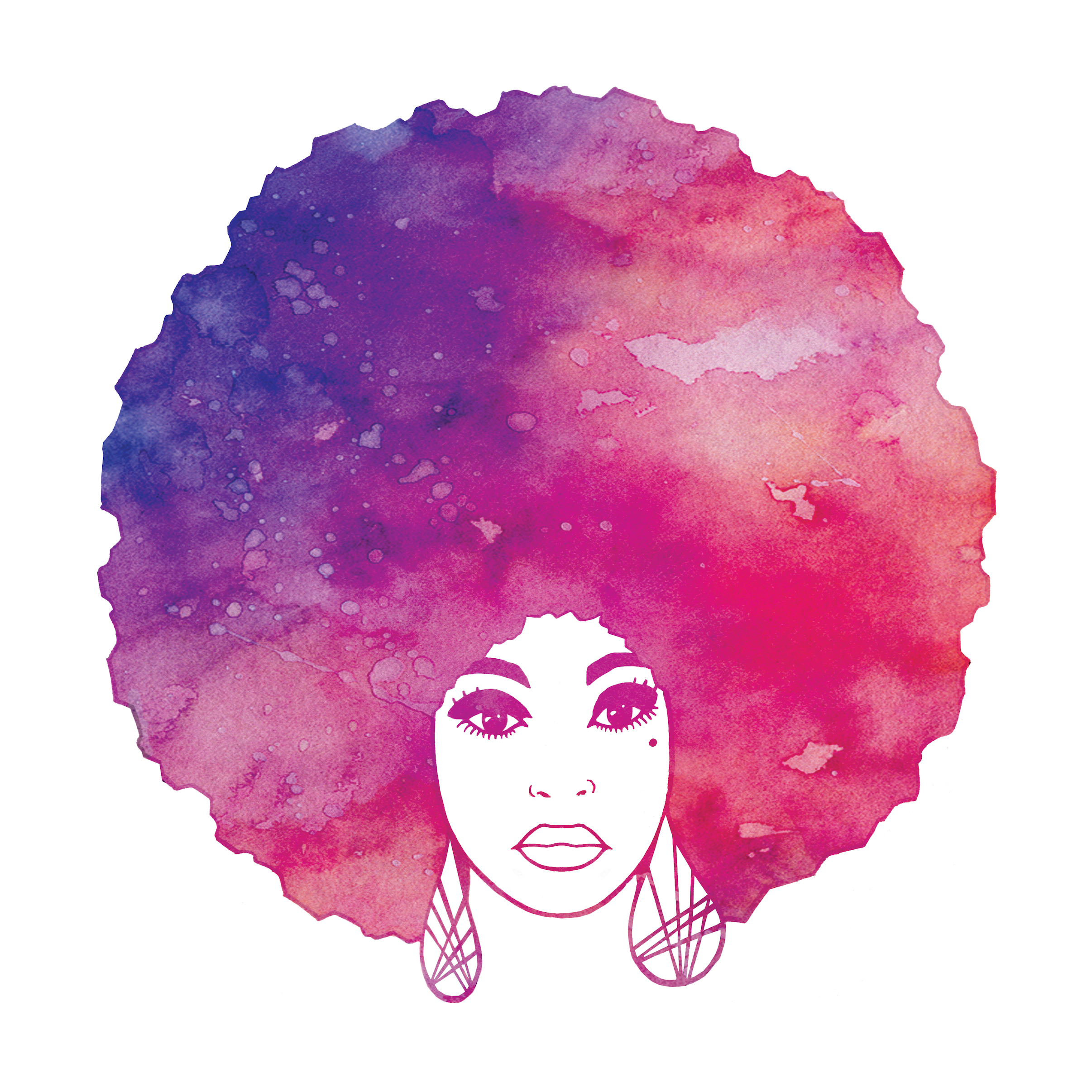 Afro Woman Watercolor fitted Tshirt  afro art watercolour pink purple graphic tee  ladies