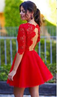 Long sleeve red homecoming dress, lace homecoming dress ...