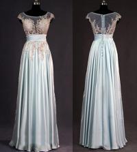 lace bridesmaid dress, dusty blue bridesmaid dress, long ...