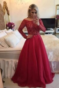 Pretty red A-line lace long sleeve prom dress,formal gown ...