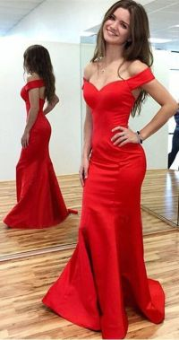 Long red satin Prom Dress, Off the Shoulder Prom Dress ...