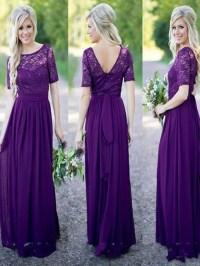 Purple Lace bridesmaid dress, Half sleeve bridesmaid dress ...