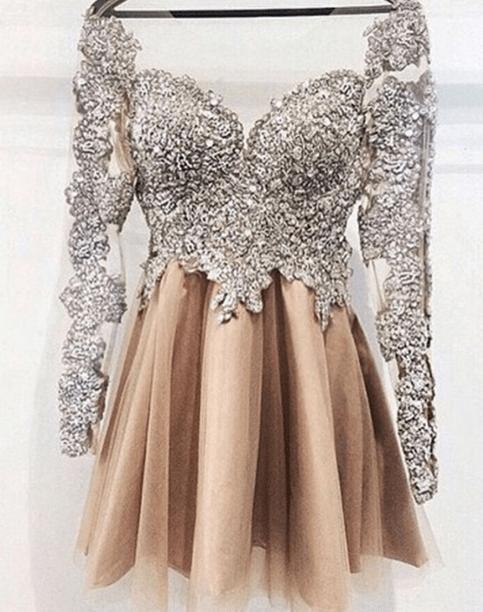 Sparkly Long Sleeves Short Prom DressesHandmade Beaded