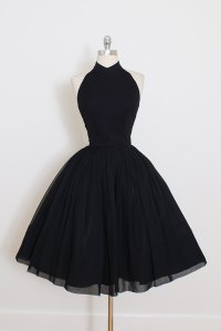 Vintage Little Black Dress, Short Black Halter Prom Dress ...