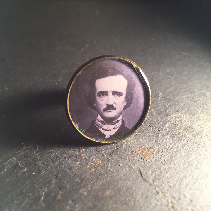 Edgar Allan Poe Round Gold Ring  Ghastly Commodities  Online Store Powered by Storenvy