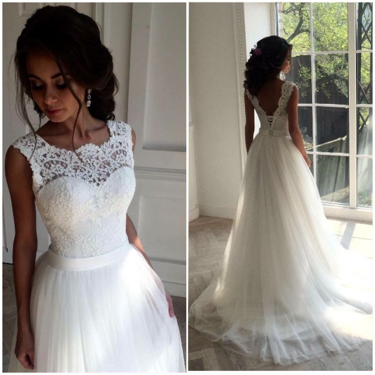 white long lace wedding