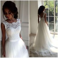 White Long Lace Wedding Dresses,Handmade Backless Lace Up ...