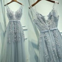 Lace Appliqued Prom Dress,Silver Tulle Long Formal Dresses
