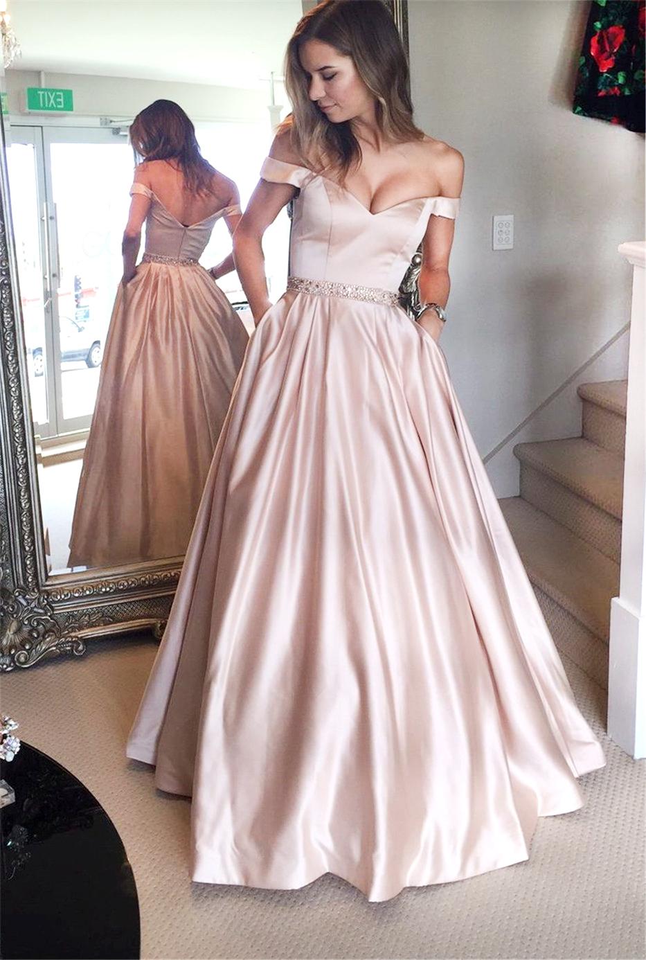 Stylish light pink off shoulder long prom dresslight pink evening dresses  Dream Prom  Online